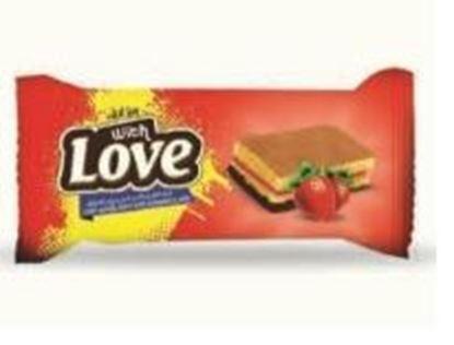 Bild von COV-C-2002- With Love - Kuchen Vanille gefüllt mit Erdbeergelee